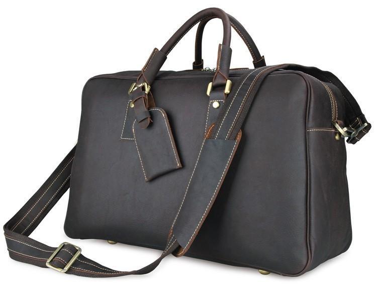dd7ead61afd4 Кожаная дорожная сумка John McDee темно-коричневая 7156Q: продажа ...