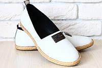 Эспадрильи, балетки белые кожаные