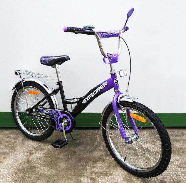 Велосипед двухколёсный детский 20 дюймов EXPLORER 20 T-22019 black + purple ***