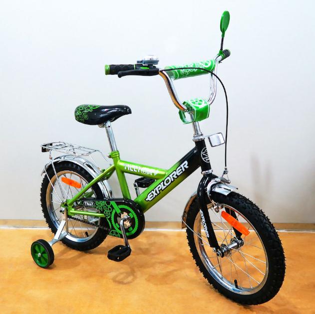 Велосипед двухколёсный детский 16 дюймов EXPLORER T-21619 green + black