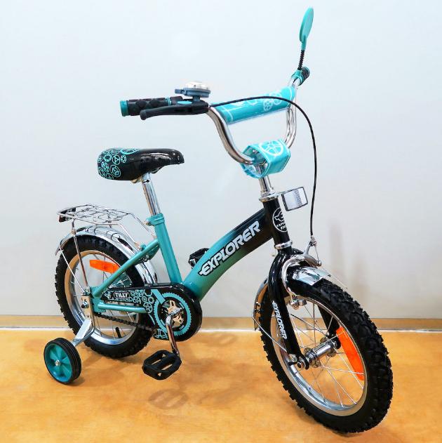 Велосипед двухколёсный детский 14 дюймов  EXPLORER  T-21416 turquoise + black ***