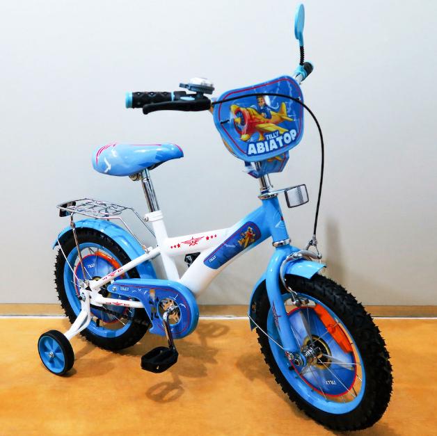 Велосипед двухколёсный детский 14 дюймов TILLY Авіатор T-214210 white + blue