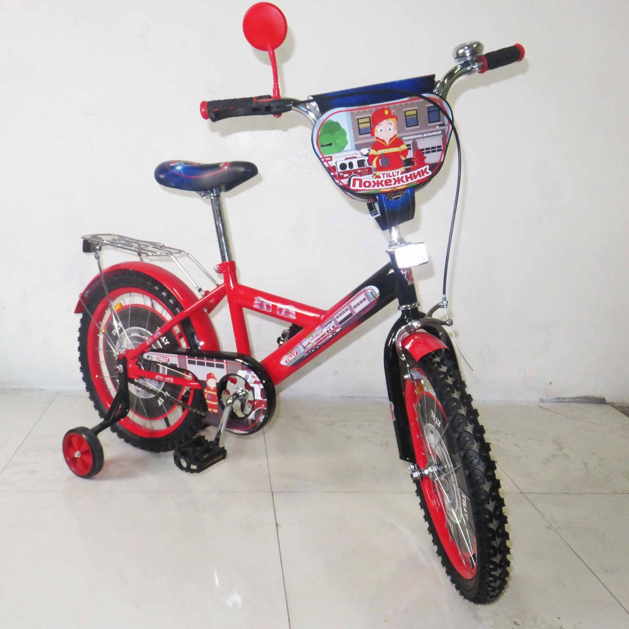 Велосипед детский двухколесный 18 дюймов Пожежник  T-21829 red + black