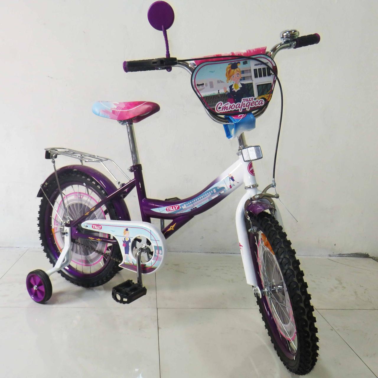Велосипед детский двухколесный 18 дюймов Стюардеса  T-21827 purple + white ***