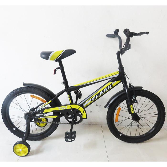 Велосипед детский двухколесный 18 дюймов FLASH  T-21843 Black