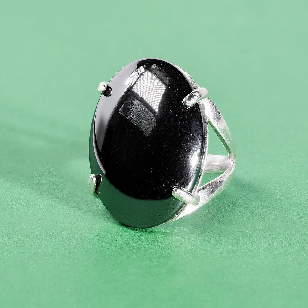 Гематит (кровавик), 25*18 мм., серебро 925, кольцо, 979КГ