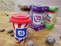 Кружка для взрослых и детей Skype керамическая с силиконовой крышкой поилкой
