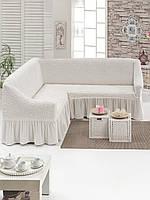 Чехол на угловой диван и кресло, цвет белый
