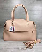 Розовая сумка 55710 деловая овальный мягкий саквояж, фото 1
