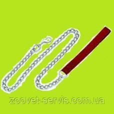 Поводок-цепь с нейлоновой ручкой красный,1мx4мм