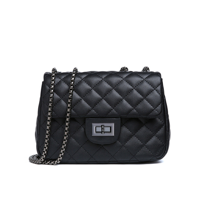 6b03ebd352cc Кожаная сумка женская стеганая черного цвета купить по выгодной цене ...