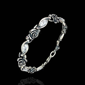 Серебряный женский браслет с розами и фианитами, 180мм