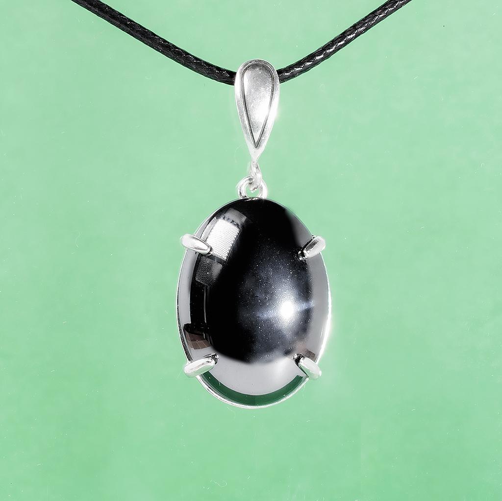 Гематит (кровавик), 25*18 мм., серебро 925, кулон, 989КЛГ