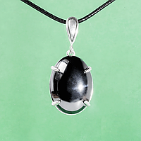 Гематит (кровавик), 25*18 мм., серебро 925, кулон, 989КЛГ, фото 1