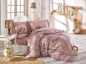"""Евро-комплект постельного белья Hobby Poplin. Турция """"Tree"""" Розовый"""