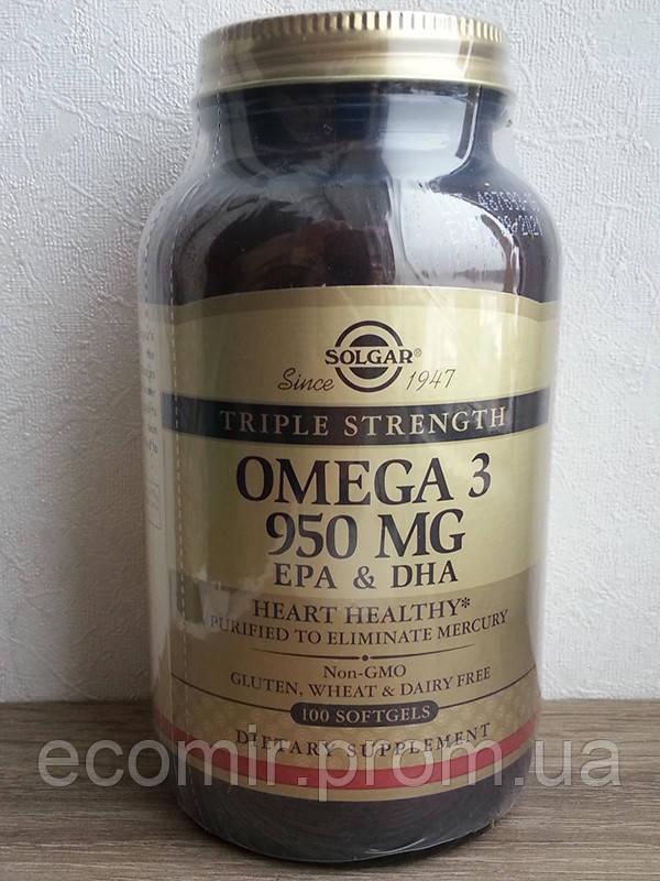 Омега-3, тройная сила, 950 мг, Solgar (500EPA/380DHA,100 капсул)