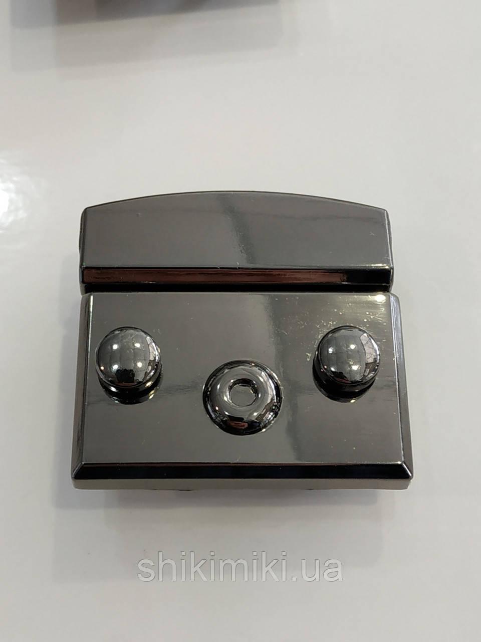 Замок для сумки (с защелкой на кнопках) ZM18-2, цвет темный никель