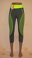 Бриджи спортивные женские СЕРЫЕ С САЛАТОВЫМ,  размер 42-50