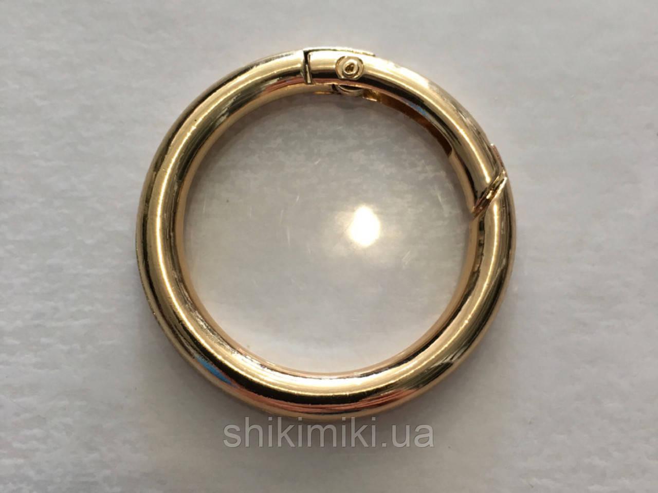 Кольцо-карабин КК07-3 (40мм), цвет светлое золото