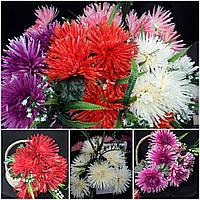 Пышная хризантема с добавкой ландышей, 7 голов, 53 см., 195/165 (цена за 1 шт. + 30 гр.)