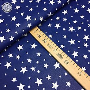 """Польская хлопковая ткань """"Звездная россыпь белая на синем"""", фото 2"""
