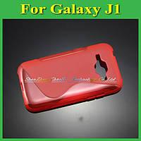 Чехол накладка бампер для Samsung Galaxy J1 J100h красный