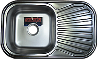 Мойка кухонная Platinum 7848 электро-сатин 0,8 мм глубина 18 см, фото 1