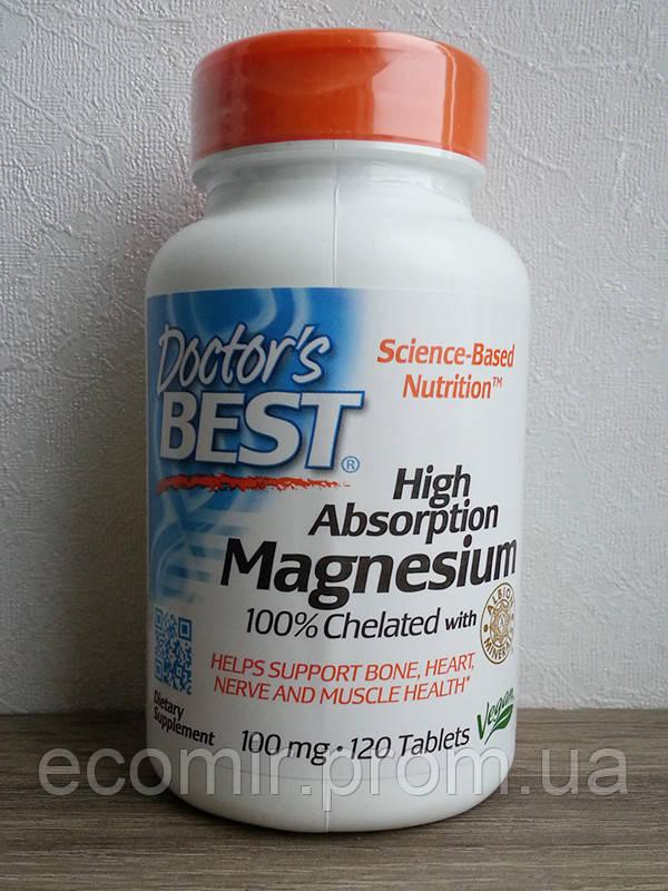 Магний легкоусвояемый,Doctor's Best (100 мг / 120 таблеток)