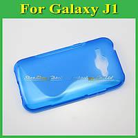 Чехол накладка бампер для Samsung Galaxy J1 J100h голубой