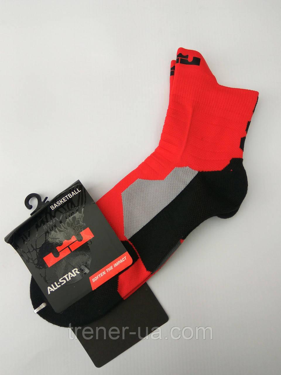 Шкарпетки баскетбольні дорослі червоно-чорні