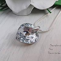 Серебряный кулон с кристаллом Сваровски зеркально-серебристого цвета в форме сердца
