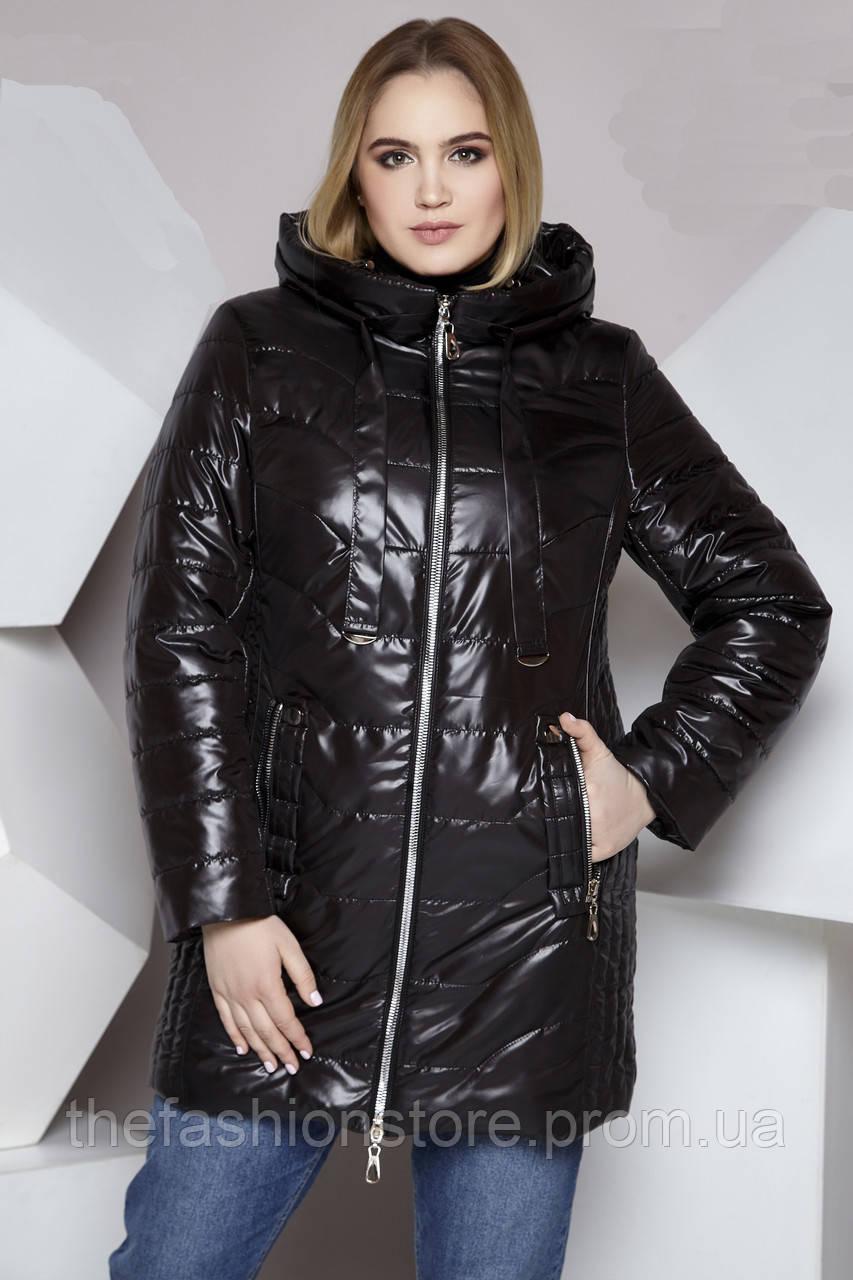 32e7354b16fdc Женская длинная куртка весна-осень черного цвета больших размеров баталы  (50,52,