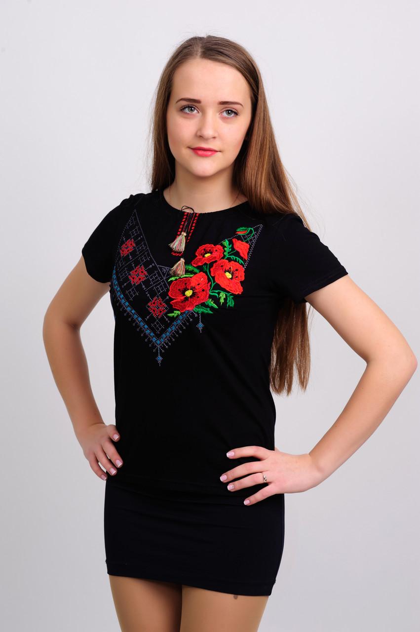 Женская футболка с вышивкой гладь+крестик 48984fa66a759