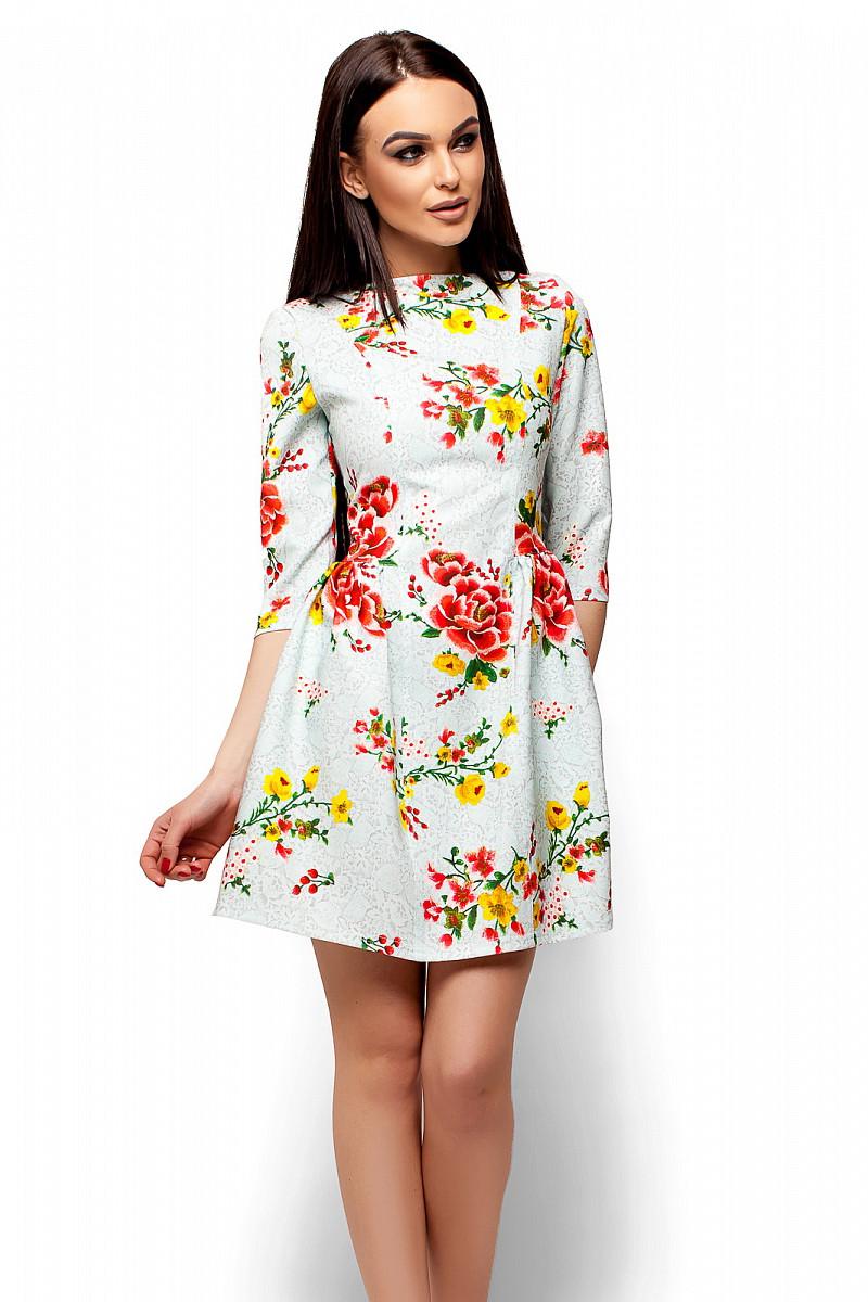 (S, M, L) Миле голубе плаття в квітку Sivil