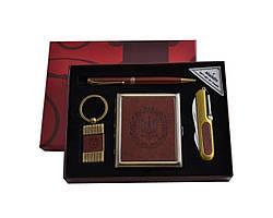 Подарочный набор 4в1 портсигар/нож/ручка/брелок кожа Украина