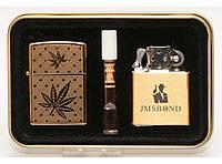 PZ15-4774 Подарочный набор 2 В 1: USB зажигалка + бензиновая зажигалка + мундштук.