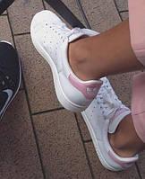 Женские кожаные белые кроссовки в стиле Adidas Stan Smith (Реплика ААА+), фото 1