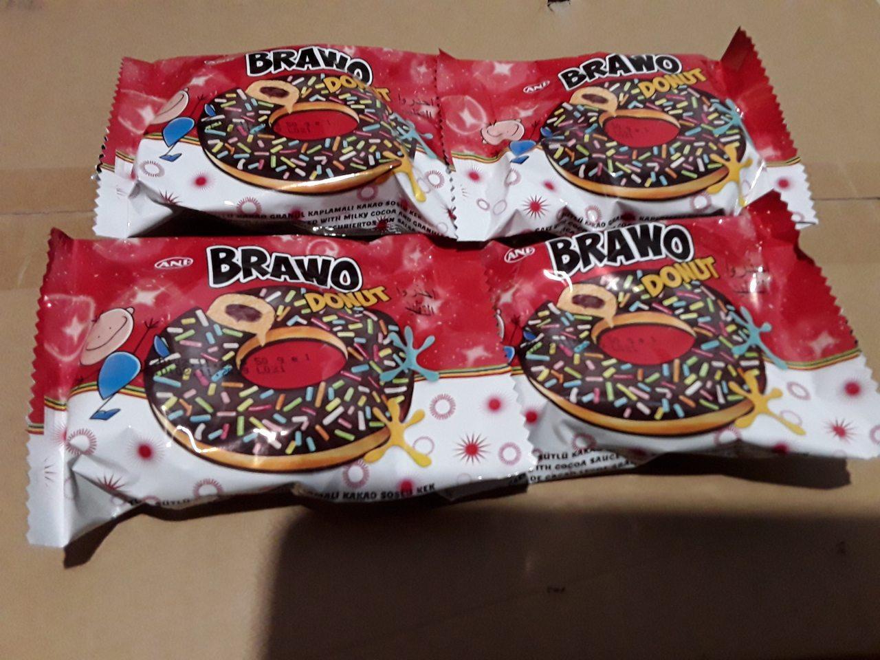 BRAWO бисквитно шоколадный пончик с шоколадом 50 грамм (ТУРЦИЯ)