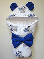 """Демисезонный плюшевый конверт-одеяло на выписку """"It's a boy"""" белый"""