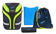 Школьный рюкзак Herlitz Motion Plus Space Космос ортопедический с наполнением (пенал, папка, сумка для обуви)