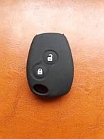 Чехол (черный, силиконовый) для авто ключа RENAULT (Рено) 2 кнопки с логотипом.