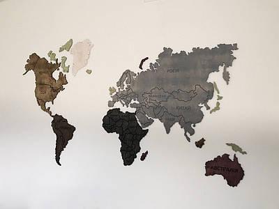 Карта мира на стену, тонированная различными цветами