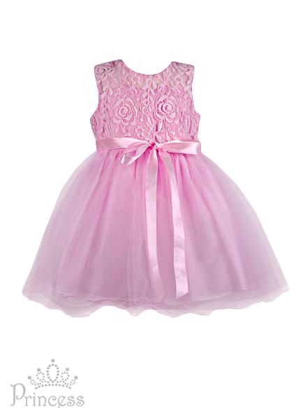 Нежное платье для девочки с лентой-бантиком