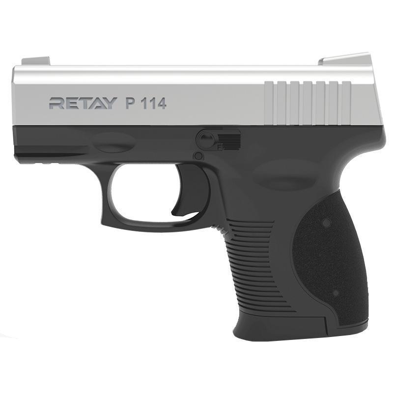 Сигнальний пістолет, стартовий Retay P114 (9мм, 6 зарядів), хром