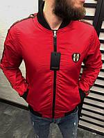 Мужской бомбер красный Гучи ветровка с логотипом Gucci (реплика), фото 1