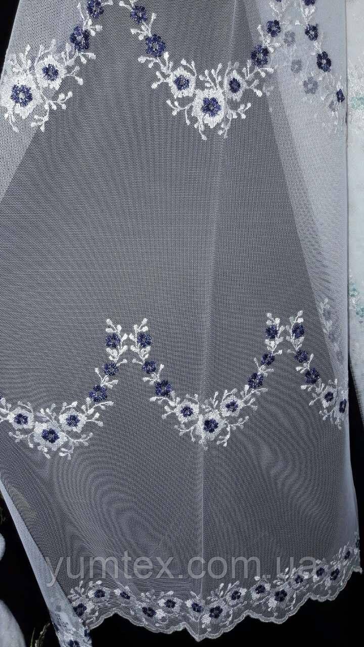 """Тюль вышивка на фатине """"Лиз"""", цвет с темно синей нитью № 05"""