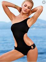 Женский монокини купальник с кольцами черный цвет