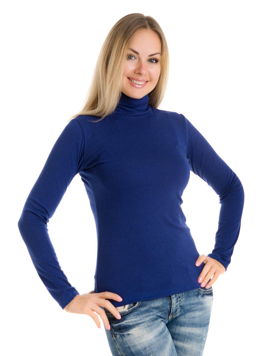Женская водолазка (гольф) из полушерсти, синий, размеры 44 - 54