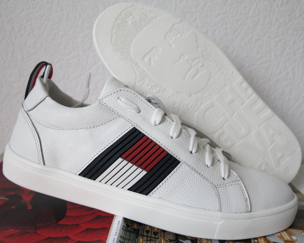 Tommy Hilfiger кожаные белые кеды! Туфли мужские кроссовки в стиле Томми Хилфигер
