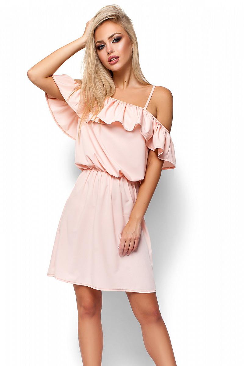 (S-M) Витончене персикове  повсякденне плаття Dinaly